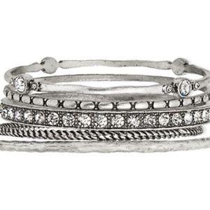 Silver Bangle Bracelets Set of 5 by  NWT